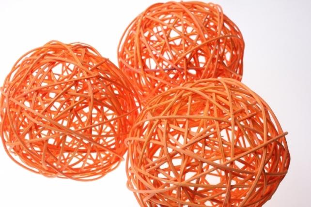 Шары ротанг малые  d=12см (10шт в уп) микс - Оранжевый