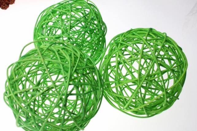 Шары ротанг малые  d=12см (10шт в уп) микс - Зелёный