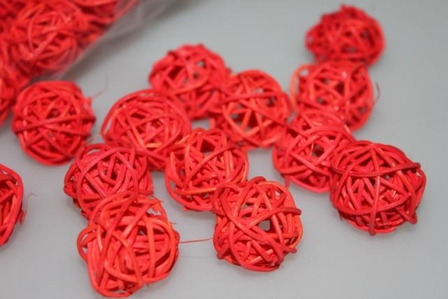 Шары ротанг малые  d=3см микс - Красный
