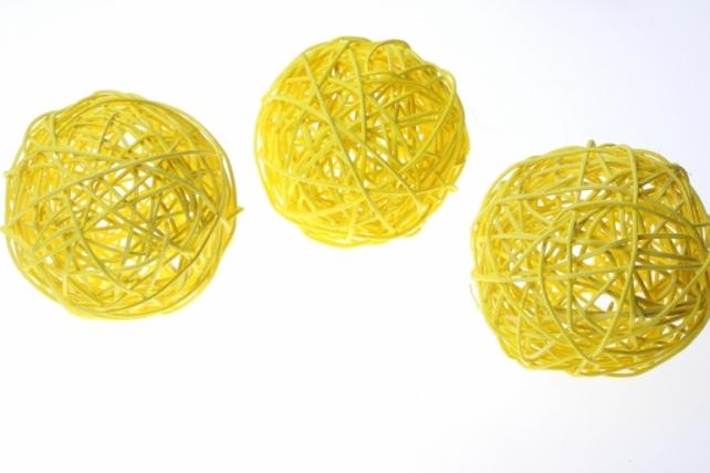 Шары ротанг малые  d=9см (10шт в уп) микс - Жёлтый