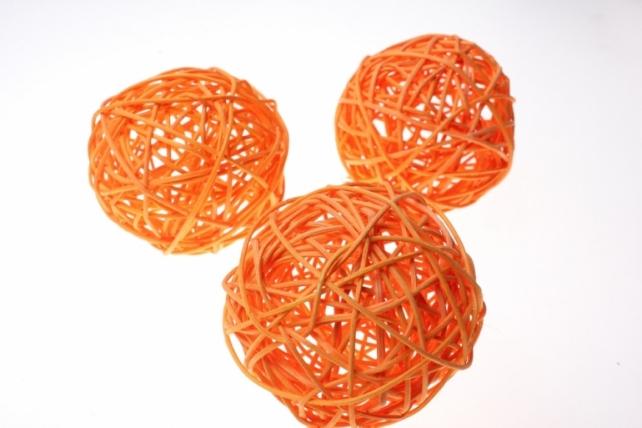 Шары ротанг малые  d=9см (10шт в уп) микс - Оранжевый