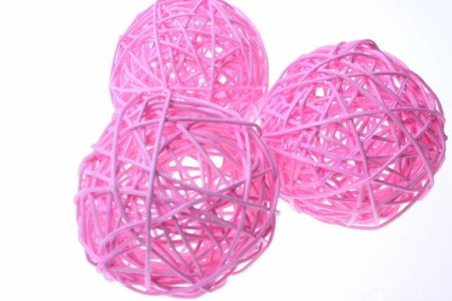 Шары ротанг малые  d=9см (10шт в уп) микс - Розовый