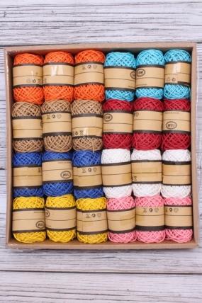 Шнур декоративный бумажный цвета микс  10м (24шт/упак)  ЛС22536-6