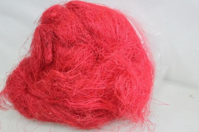 Сизалевое  волокно (500гр) в пакете Красный
