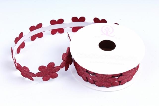 Скотч декоративный ЦВЕТЫ однотонные бордо 18мм*1,5м (1шт) ЛС881-1