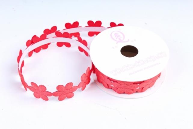 Скотч декоративный ЦВЕТЫ однотонные красный 18мм*1,5м (1шт) ЛС881-1