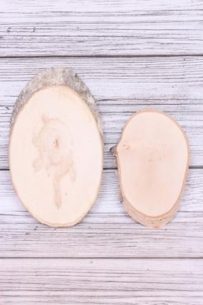 Спил овальный 20-30*10 см (берёза, ольха)  шлифованный