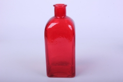 Стеклянная Цитадель Ваза-бутылка декоративная 1 литр цветной Красный неон микс БЕЗ КРЫШКИ Микс-1526