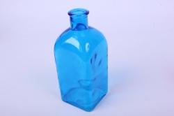 Стеклянная Цитадель Ваза-бутылка декоративная 1 литр цветной Синий неон микс БЕЗ КРЫШКИ Микс-1526