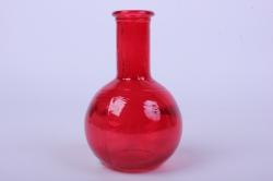 Стеклянная Илис Ваза малая декоративная Красная Н-150мм1521-Микс h=15 d=3/9см
