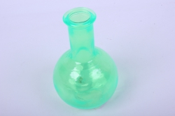 Стеклянная Илис Ваза малая декоративная Салатовая Н-150мм1521-Микс h=15 d=3/9см