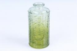 Стеклянная КАНАСТА Ваза-бутылочка декор салатово-зеленая радуга прозрачнаяРадуга- 1491