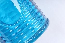Стеклянная КАНАСТА Ваза-бутылочка декор сине-голубая радуга прозрачнаяРадуга- 1491