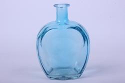 Стеклянная Сердце-1 Ваза-бутылка декоративная цветная Голубая  миксМикс-1564