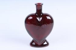 Стеклянная Сердце-2 Ваза-бутылка декоративная Бордо Микс-1523