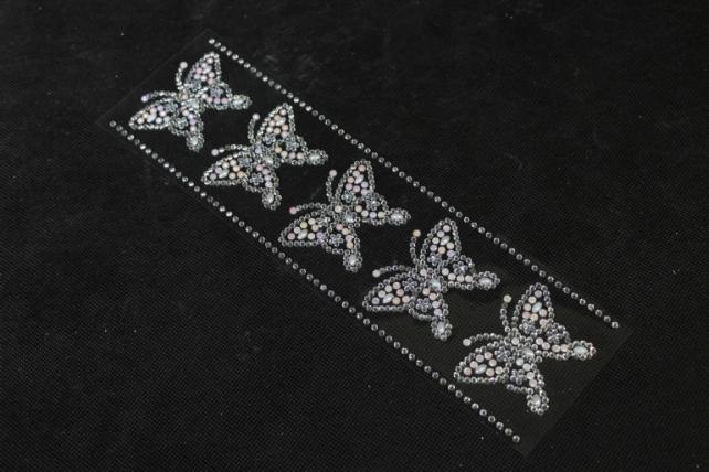 стразы бабочки на листе  5шт dz717  9210