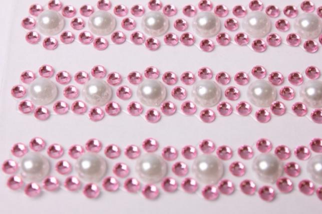 стразы цветы бело/розовые перлам. 550шт