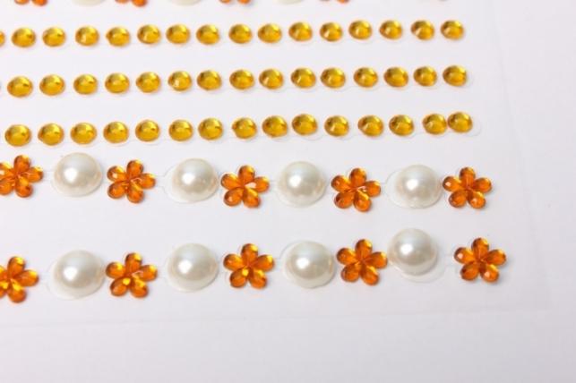стразы цветы, жемчуг на липучке  dz34-3