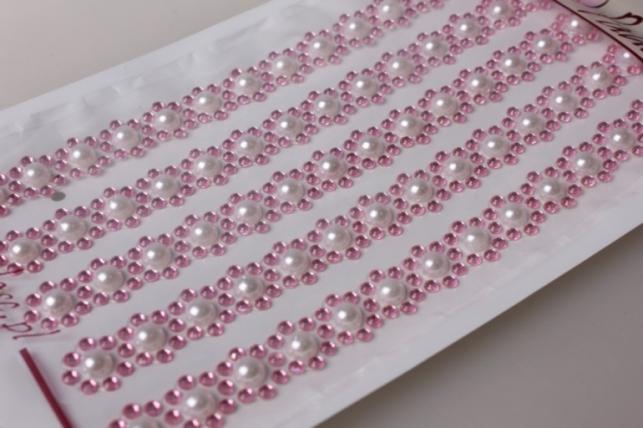 стразы цветы розовые жемчуг на липучке 9901