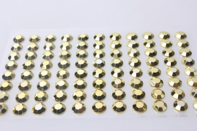 стразы граненые круглые золото. на липучке 10мм  88шт