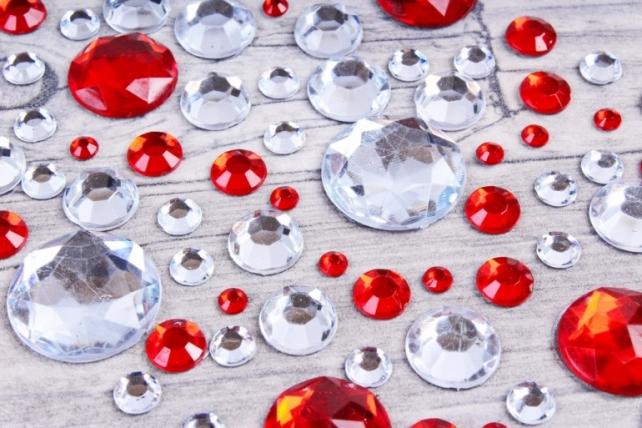 Стразы Круги красные, серебяные DZ843