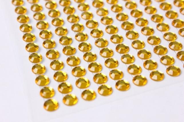 стразы круглые  желтые граненые на липучке 6мм 260шт  n2013cf-11
