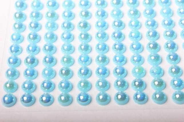 стразы круглые голубые перл. на липучке 6мм 247шт