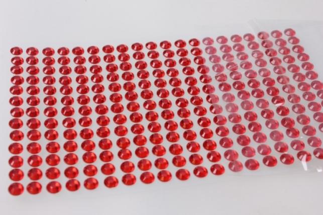 стразы круглые граненые красные на липучке 6мм 140шт