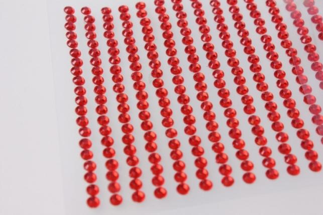 стразы круглые красные граненые на липучке 4мм  260шт