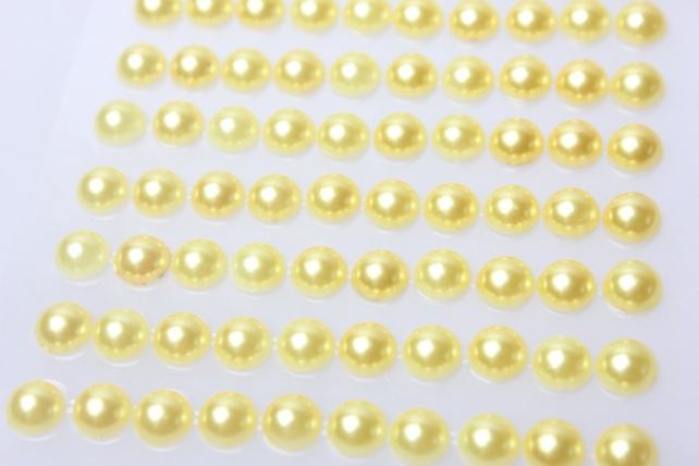 стразы круглые перламутр. желтые на липучке 8мм 104шт