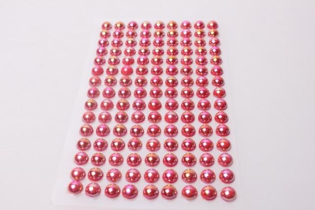 стразы круглые перламутр. красные на липучке 8мм 135шт