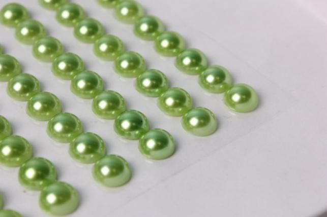 стразы круглые салатовый жемчуг на липучке 10мм 80шт