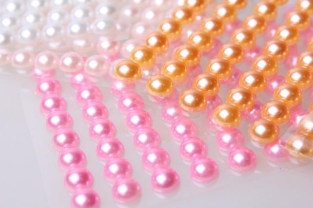 стразы круглые светло-розовые на липучке 8мм   88шт