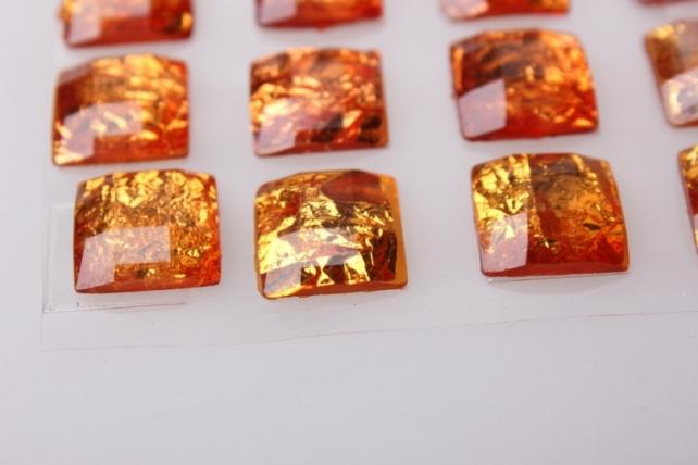 стразы квадрат золото 14мм на липучки  24шт