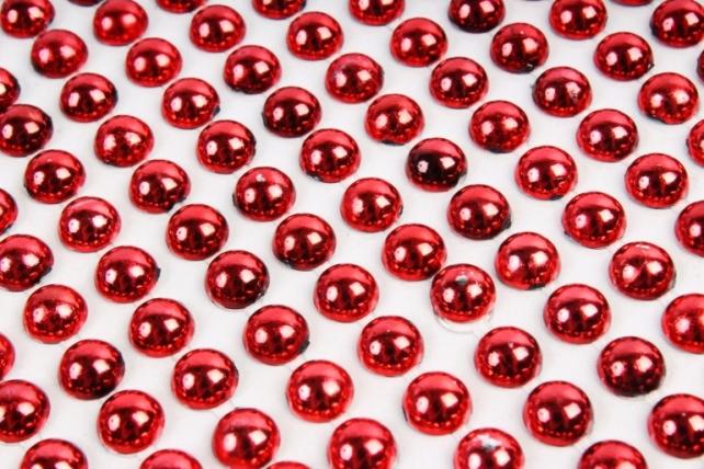 Стразы металл красные полусферы на листе 6 мм 504 шт DZ554R