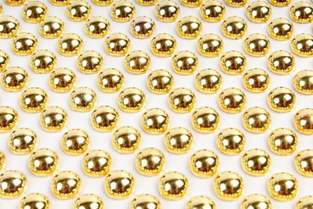 Стразы металл золото полусферы на листе 6 мм 504 шт DZ554G