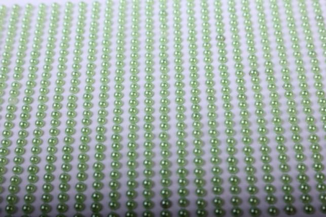 Стразы на липучке -  жемчуг салатовый 3мм  1404шт DZ337 - Код 7237