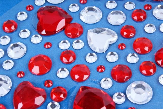 Стразы на липучке Сердца красные, серебро  30мм DZ847  2438