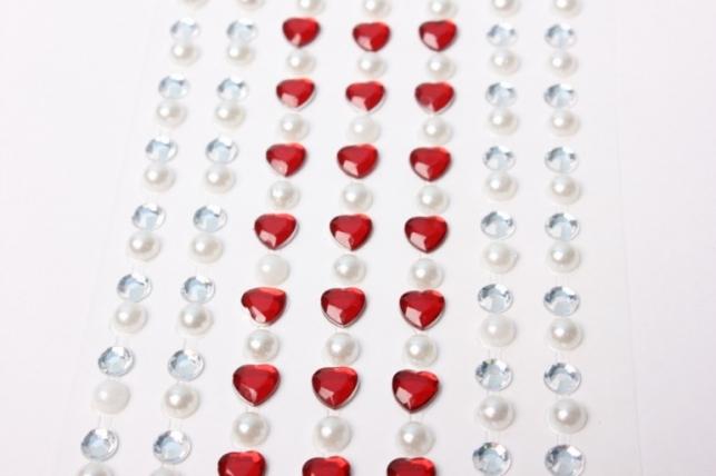 стразы сердца, жемчуг на липучке  dz42-2