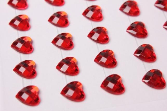 стразы сердца красные граненые на липучке 10мм 48шт