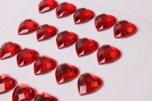 стразы сердца красные граненые на липучке 15мм  25шт