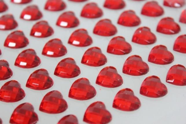 стразы сердца на липучке красные 10мм 91шт