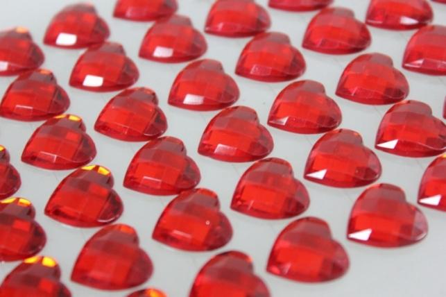 стразы сердца на липучке красные 14мм 60шт