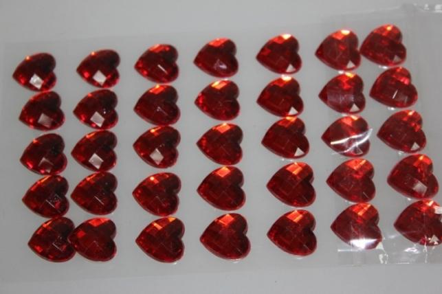 стразы сердца на липучке красные 16мм 35шт