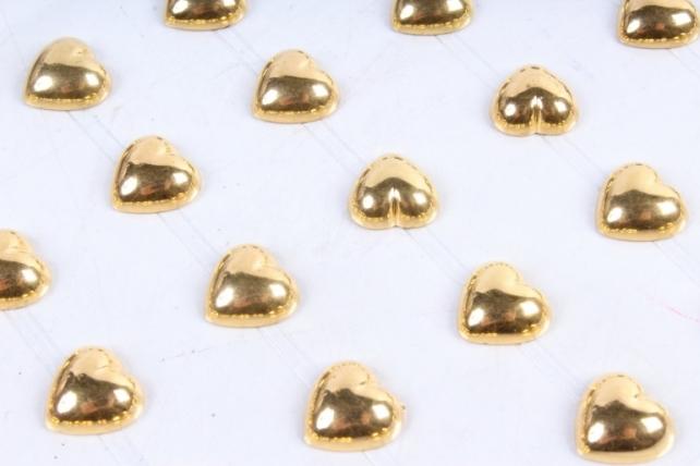 Стразы Сердца золото 12мм  60шт DZ816