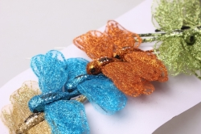 Стрекоза декоративная цветная  10см с блестками  (12 шт в уп)