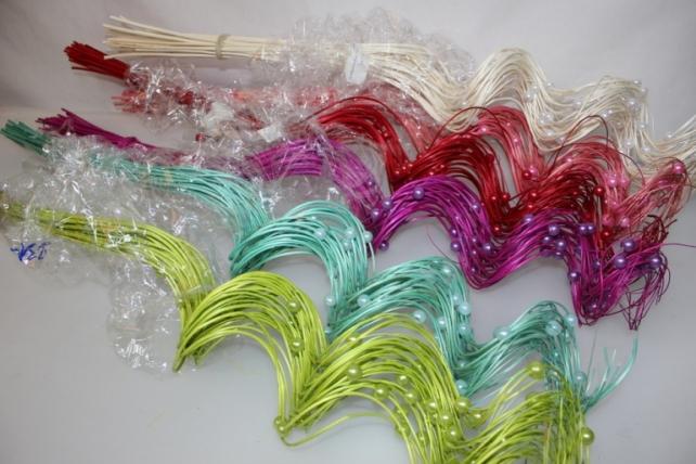 тинги с бусинками 80см сухоцветы 1142 тинги с бусинками 80см (30 шт в упак) - белый 7315