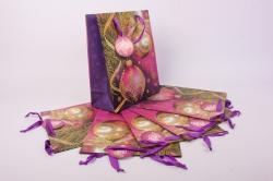 Подарочные пакеты - Сумка  1665-Люкс Новый Год Шары на сиреневом (26*32*10)  (6 шт/уп) 26*32LUX-NG