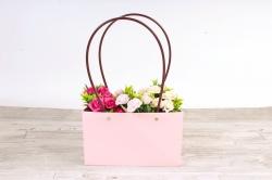 Сумка для цветов розовый влагостойкая М11