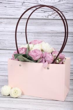 Сумка для цветов 22*13,5*10,5 светло розовая влагостойкая М11